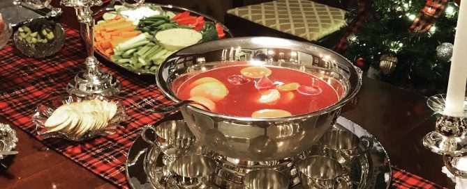 Punch recipe in silver punch bowl