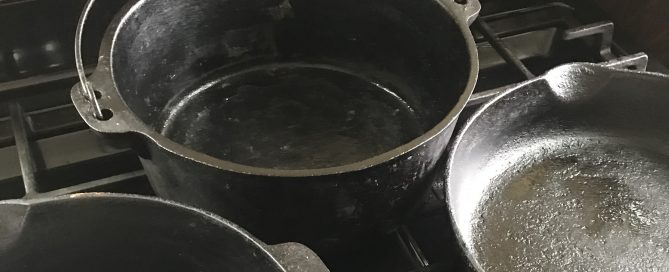 Cast iron pans on the stove