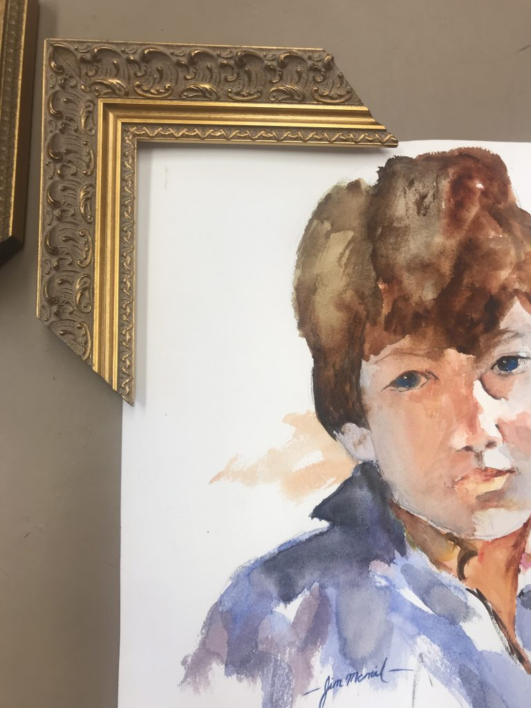 watercolor portrait at the framer